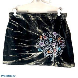 Jayli Corduroy Boho Tie Die Mini Skirt Sz L
